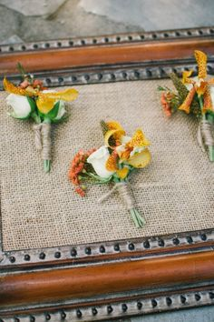 Bright and beautiful Fall inspired boutonnieres - add yellows and oranges to get this colorful look #cedarwoodweddings November Grand Intimate :: Caitlyn+Neil | Cedarwood Weddings