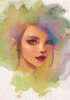 """Olive"" - gabbyd70, watercolor {figurative art beautiful female head pointed ear woman face portrait texture digital painting #loveart} gabbyd70.deviantart.com"