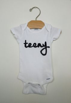 teeny, unisex onesie, trendy baby clothing, onesie, eco friendly applique, hipster baby, funny gift, new baby, baby shower - pinned by pin4etsy.com