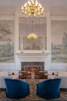 C2 Limited Design Associates | Siwanoy CC Blue Green Paints, Green Paint Colors, Living Room Murals, Wall Murals, Living Room Designs, Living Spaces, Scenic Wallpaper, Benjamin Moore Colors, Private Club