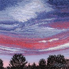 sunset by Alison Holt. I love the colours she's used and the way that they are blended together. The silhouette of the trees in the foreground really make this piece work