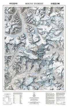 Mt. Everest and the Himalaya Topographic Map | National Geographic Store