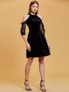 Half Sleeve Cold Shoulder Mini Graduation Short Prom Party Dress #MiniDresses #PartyDress #PromDress #Cocktail #partylooks #nightclub #clubwear