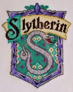 Slytherin House Crest cross stitch chart.