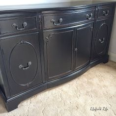 How to paint furniture black: sideboard makeover by Lilyfield Life Black Painted Furniture, Black Bedroom Furniture, Distressed Furniture, Paint Furniture, Shabby Chic Furniture, Cheap Furniture, Rustic Furniture, Furniture Making, Kitchen Furniture
