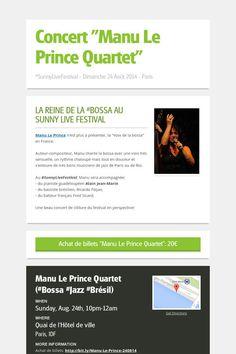 "Concert ""Manu Le Prince Quartet"" > Dimanche 24 août 2014 à 21h > Billets ici: http://bit.ly/manou_da_bahia_230814"