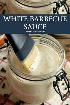 Barbecue Sauce - A Family Feast® - White Barbecue Sauce – A zesty Southern classic sauce. -White Barbecue Sauce - A Family Feast® - White Barbecue Sauce – A zesty Southern classic sauce. Barbecue Sauce Recipes, Grilling Recipes, Cooking Recipes, Bbq Sauces, Vegetarian Grilling, Healthy Grilling, Vegetarian Food, Bbq Meals, White Sauce Recipes