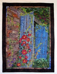 Art Quilt Hollyhock Cottage Wall Hanging Fiber Art by SallyManke, $1750.00