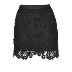 Black Floral Crochet Bodycon Mini Skirt (1.095 CZK) ❤ liked on Polyvore featuring skirts, mini skirts, bottoms, genuine people, black, black cotton skirt, cotton skirt, crochet mini skirt, black miniskirt and short skirts