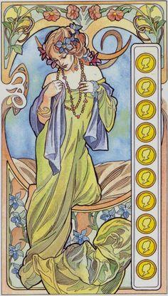 The Primavera Tarot was also called Tarot Art Nouveau, but there is another deck by Matt Myers called the Art Nouveau Tarot. The Myers deck is less representative of art nouveau and shows mainly in… Art Nouveau, Klimt, Celtic, Art Carte, Inspiration Art, Alphonse Mucha, Art Deco Design, Tarot Decks, Illustrations