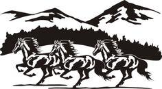 Wild Horses Mountain Scene Sticker - Click Image to Close