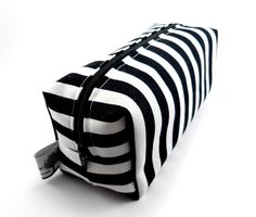 Striped Makeup Bag, Boxy Pouch, Squared Corners, Zippered, Travel, Cosmetic Pouch, gadget Case, Under 10, For Her, Black And White. $9.00, via Etsy.