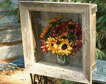 Rustic Wedding Shadow Box Curio Cabinet  Wall Shelf Deep Beach Cottage Chic Bridal Bouquet Distressed Furniture