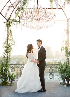 Urban Rooftop Ceremony with a Natural Glam Arbor and Chandelier | Jose Villa Photography | Hey Wedding Lady Picks for a Fabulous 2016 Wedding! - http://heyweddinglady.com/hey-wedding-ladys-picks-fabulous-2016-wedding/