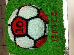 Soccer cake @Melanie Ann the icing effect like this but the simple round pan look from the other one!
