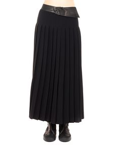 PETAR PETROV Long black skirt high waist front and back plissé leather waist band press-stud closure 63% VI 33% AC 4% EA Insert: 100% Leather