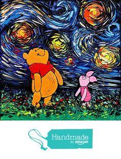 Winnie The Pooh and Piglet Art - Starry Night - Fine art print - van Gogh Never Saw Hundred Acre Wood - Art by Aja 8x8, 10x10, 12x12, 20x20, 24x24 inch print sizes from Sagittarius Gallery http://www.amazon.com/dp/B01C8BKB52/ref=hnd_sw_r_pi_dp_bB72wb0S4N16X #handmadeatamazon