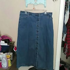 Blue Jean Skirt.  Worn once, very comfortable. No stains, very comfortable, can be worn during the summer with sandals and your favorite top, and can also be worn during the winter with leggings, tights and boots with your favorite sweater or flannel shirt Croft & Barrow Skirts A-Line or Full