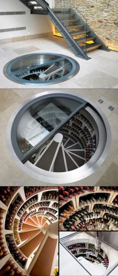 A spiral cellar is an ingenious way to house a wine collection, perfect for urban homes where space is often limited. The cellar can be installed in virtually Cave A Vin Design, Spiral Wine Cellar, Underground Cellar, Trap Door, Interior Architecture, Interior Design, Spiral Staircase, Staircase Design, Storage Design