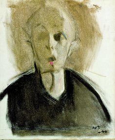 """""""Autoportrait à la tâche rouge"""" d'Helena Schjerfbeck"""