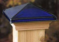 Blue glass post cap.