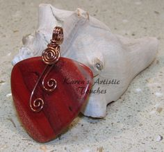 Red Jasper Triangle Gemstone Antique Copper by ArtisticTouches, $22.00