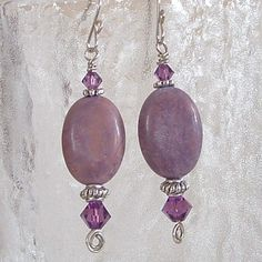 Earrings  Lepidolite Oval and Round Stones with by wiredroxz