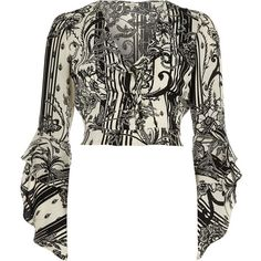 1a67325b03083 River Island Black floral print wrap frill sleeve crop top ( 70) via Polyvore  featuring