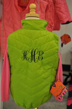 Monogram on back