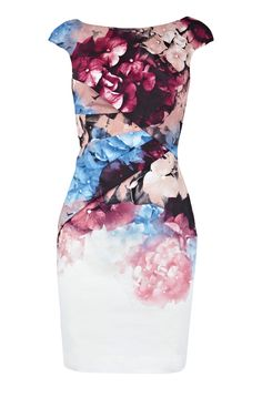 Karen Millen Floral Cotton Pencil Dress [#KMM018] - $86.19 :