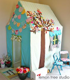 Hang Some Happiness  Colorful and Whimsical bunting by LemonTreeStudio, $24.95  I like the link to etsy account has great stuff, love love the playhouse!