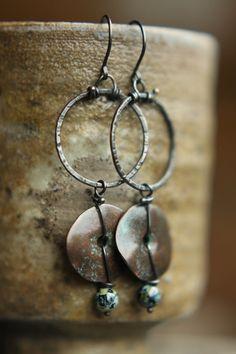 Rough Textured Solid Copper Hoop Earrings by SparrowtaleStudio