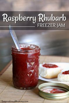 This Raspberry Rhubarb Freezer Jam comes together quickly and disappears even quicker! The perfect combination of flavors in yummy on toast, ice cream, or with a spoon! Rhubarb Freezer Jam, Freezer Jam Recipes, Jelly Recipes, Canning Recipes, Yummy Recipes, Canning Tips, Free Recipes, Dessert Recipes, Raspberry Rhubarb Jam