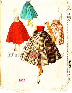 McCall's 3632 Vintage 1950s Full Skirts and by DRCRosePatterns