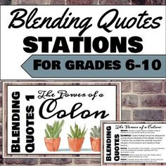 Blending Quotes (Embedding Quotes) Stations for grades ELA Middle School Writing, Middle School English, Middle School Teachers, High School, Writing Strategies, Teaching Strategies, Writing Help, Teaching Ideas, Learning Stations