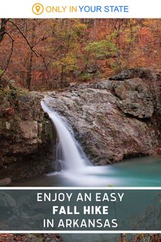 Enjoy a beautiful, short, easy hike to a waterfall this fall in Arkansas. Bring your family and a camera when you travel along this trail. Arkansas Waterfalls, Falls Creek, Camping Spots, Local Attractions, Beautiful Waterfalls, Weekend Getaways, Vacation Spots, Day Trips, State Parks