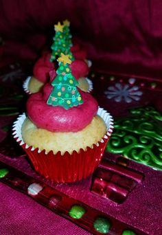 White velvet cupcakes with Cranberry Buttercream