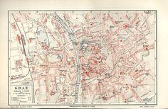 1894 Graz * alte Landkarte Stadtplan Karte Antique City Map Lithographie