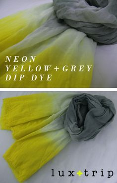 DIY: neon & grey dip dye scarf - love the colour combination