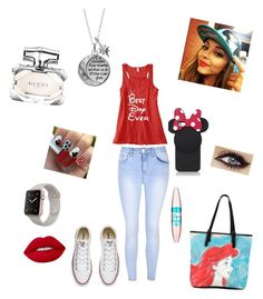 """Jade"" by alpha-angel98 on Polyvore featuring Kate Spade, Glamorous, Disney, Converse, Lime Crime, Gucci and Maybelline"