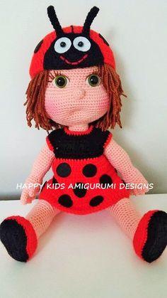 Celine Doll with Ladybug Costume- Amigurumi Crochet Pattern-PDF