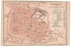 Antique map Brescia plan Italy 1905 cartina mappa antica Italia