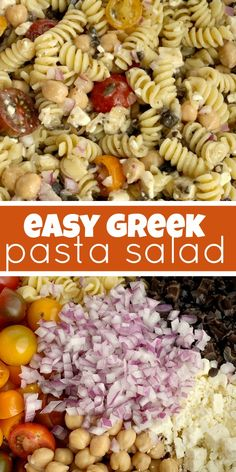 Easy Greek Pasta Salad - Together as Family Easy Pasta Salad Recipe, Easy Salad Recipes, Side Dish Recipes, Pasta Recipes, Healthy Recipes, Casserole Recipes, Recipes Dinner, Potato Recipes, Fish Recipes