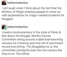 "Muggle-worthy excuse committee: ""just call it a clown accident."" ""Shooting stars instead of rain? DO YOU EVEN KNOW WHAT A CLOWN IS??"""