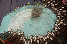 Binche (I think) in process Lace Pillows, Bobbin Lace, Doilies, Paris, Rock, Random, Crochet, Modern, Handmade