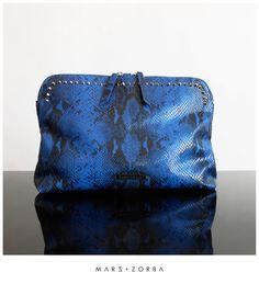 Mars+Zorba Gigi Black+Blue Snake *studs Clutch #leather #handbag #clutch #pouch #reptil #buenosaires