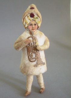 Alter Christbaumschmuck, Junge aus Watte, Oblatengesicht mit Turban   eBay