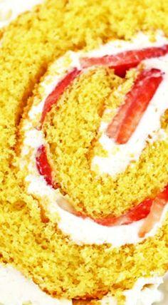 Vanilla Strawberry & Cream Cake Roll