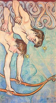 Gemini, by Stanislaw Wyspianski Aquarius And Libra, Gemini Zodiac, Art And Illustration, Francis Of Assisi, St Francis, My Astrology, Stained Glass Church, Museum Of Fine Arts, Light Art
