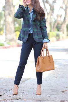 Plaid Tartan blazer jacket - button up Chambray shirt -  Sloan Fit Navy slim ankle pants - leather tote purse -  pearlized pave bracelet.   http://www.stylishpetite.com/2014/12/tartan-plaid-blazer-and-chambray.html